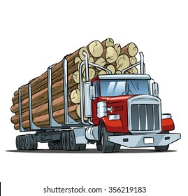 Logging truck isolated on white background. Vector illustration