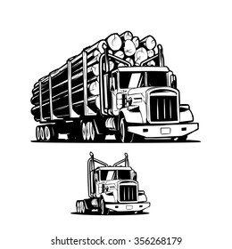 Logging truck isolated on white background. Black and white illustration. Vector illustration