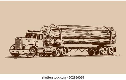 Logging truck sketch