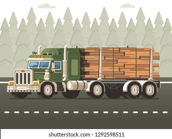Logging truck or timber lorry with dolly trailer carrying logs on road with forest background. Wood harvesting industry transport on highway in flat design. Lumber delivery concept illustration.