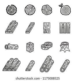 logging and wood icon set with white background. Thin Line Style stock vector.