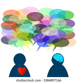 With logic conversation, many time we could not understand between two people that showing emotive and cognitive or thinking, talking and acting by brain and by heart (feeling).