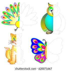 Logic exercise for children. Draw and paint second parts of animals considering the symmetry. Vector image.