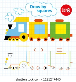 Logic exercise for little children on a square paper. Draw and paint train using colorful pens. Puzzle game for developing writing and painting skills. Learn and play. Vector isolated. Hand draw.