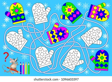 Logic exercise for young children. Find the pare for each mitten and paint them in relevant colors. Vector cartoon image.