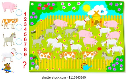 Logic exercise for young children. How many domestic animals are there in the farm? Count the quantity and write the numbers in corresponding circles. Vector cartoon image.