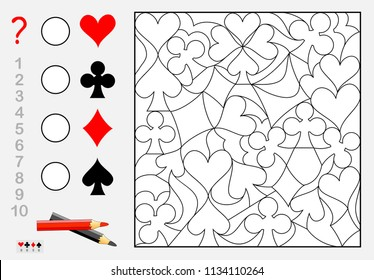 Logic exercise for young children. How many pieces of each card suit can you find? Count the quantity, paint them and write the numbers in circles. Vector cartoon image.