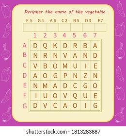 Logic game for children. Decipher the name of the vegetable
