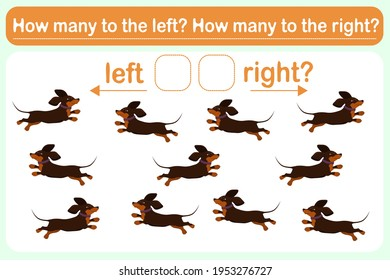 A logic game for kids called Left or right. Spatial orientation with dogs. Training sheet. Count how many dogs are turned left and how many are turned left.