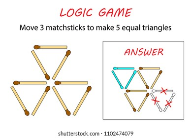 Logic game for kids. Puzzle game with matches. Move 3 matchsticks to make 5 equal triangles.