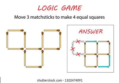 Logic game for kids. Puzzle game with matches. Move 3 matchsticks to make 4 equal squares.