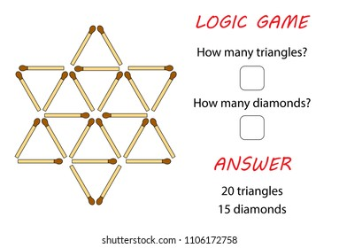 Logic game for kids. Puzzle game with matches. How many objects. With answer.