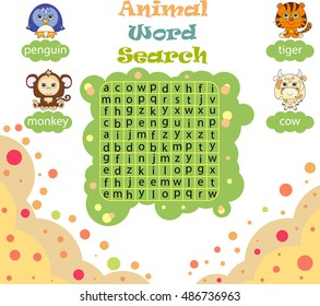 Logic game for learning English. Find the hidden words by vertical or horizontal lines. Vector image for kids