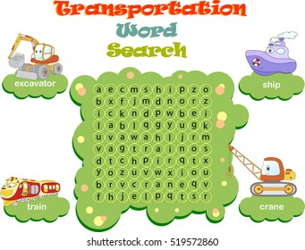 Logic game for learning English. Find the hidden transportation words by vertical or horizontal lines