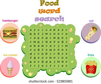 Logic game for learning English. Find the hidden fast food words by vertical or horizontal lines