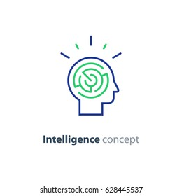 Logic games concept, creative thinking, head maze line icon, mind labyrinth, mental work, strategic thinking, psychology vector logo