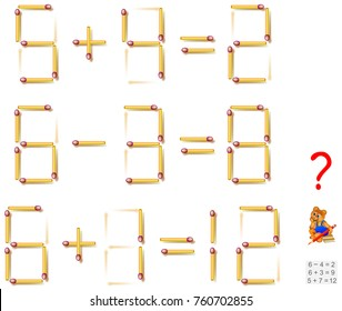 Logic puzzle. In each task move one matchstick to make the equations correct. Vector image.