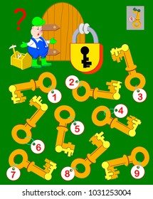 Logic puzzle game for children and adults. Help the worker find the correct key and open the lock. Vector cartoon image.