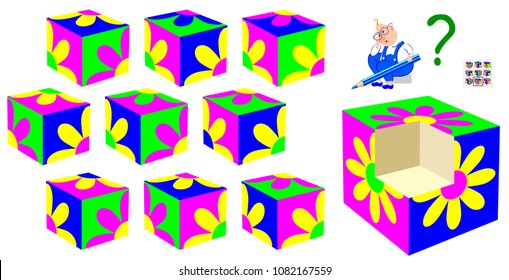 Logic puzzle game for children and adults. Find the correct part which fell out of the cube. Vector cartoon image.