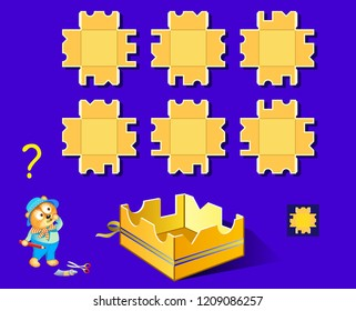 Logic puzzle game for children and adults. Need to find the pattern corresponding the box. Back to school. Vector cartoon image.