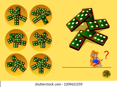 Logic puzzle game for children and adults. Need to find corresponding top view of a dominoes. Back to school. Developing skills of counting. Vector cartoon image.