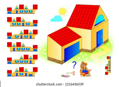 Logic puzzle game for children and adults. Need to find the pattern corresponding the house. Educational page for kids. Template for brainteaser book. Back to school. Vector cartoon image.