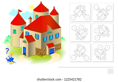 Logic puzzle game for children and adults. Need to find the plan corresponding the house. Template for brainteaser book. Developing spatial thinking. Back to school. Vector cartoon image.