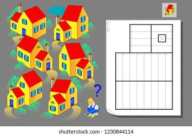 Logic puzzle game for children and adults. Help the worker find the house corresponding the plan. Template for brainteaser book. Developing spatial thinking. Back to school. Vector cartoon image.
