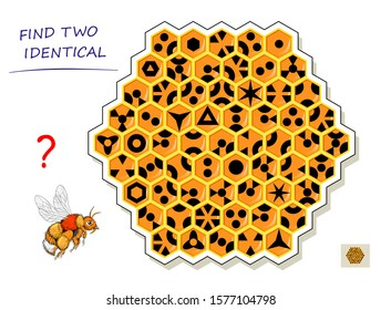Logic puzzle game for children and adults. Need to find two identical honeycombs. Printable page for kids brain teaser book. Developing spatial thinking skills. IQ test. Vector cartoon image.