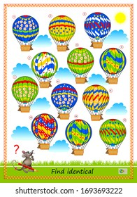 Logic puzzle game for children and adults. Find two identical air balloons. Printable page for kids brain teaser book. Developing spatial thinking skills. IQ training test. Flat vector cartoon image.