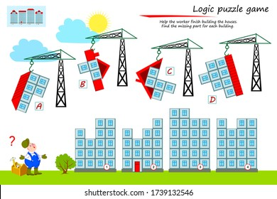 Logic puzzle game for children and adults. Help the worker finish building the houses. Find the missing part for each building. Printable page for kids brain teaser book. Flat cartoon vector.