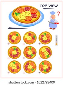 Logic puzzle game for children and adults. Need to find correct top view of pizza. Printable page for brain teaser book. Developing spatial thinking skills. IQ test. Flat cartoon illustration.