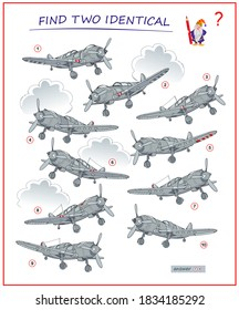 Logic puzzle game for children and adults. Find two identical airplanes. Printable page for kids brain teaser book. Developing spatial thinking skills. IQ test. Vector cartoon illustration.