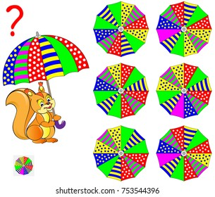 Logic puzzle game for children adults. What umbrella the squirrel is holding? Find the corresponding view from the top. Vector  cartoon image.