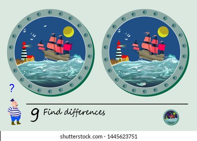 Logic puzzle game for children. Need to find 9 differences. Printable page for kids brainteaser book. View from window of sea porthole on ocean, lighthouse and ship. Developing counting skills.