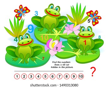 Logic puzzle game. Exercise for young children. Find the numbers from 1 till 10 hidden in the picture. Developing counting skills. IQ training test. Printable worksheet for kids book. Back to school.
