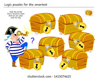 Logic puzzle game. Help the pirate find a treasure chest that he can open with his key. Printable page for brainteaser book. Developing spatial thinking. Vector cartoon image.