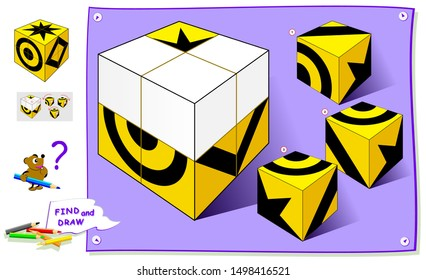 Logic puzzle game for kids. Find correct places for remaining parts of cube and paint them on it. Worksheet for children school textbook. Developing spatial thinking skills. Brain teaser book.