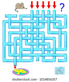 Logic puzzle game with labyrinth for children and adults. Help the mouse find the way till the cheese. Vector image.