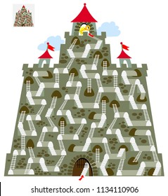 Logic puzzle game with labyrinth for children and adults. Find the way in the castle till tower with key. Vector cartoon image.