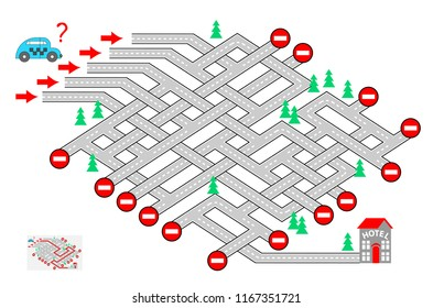 Logic puzzle game with labyrinth for children and adults. Help the taxi driver find the way to the hotel. Which road should he choose? Vector cartoon image.