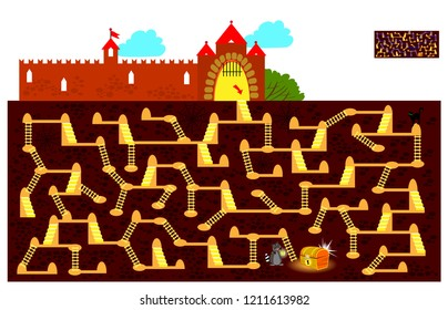 Logic puzzle game with labyrinth for children and adults. Find the way underground to the hidden treasure chest and draw the line. Vector cartoon image.