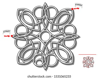 Logic puzzle game with labyrinth for children and adults. Find  the way through Celtic Knot wire from start till finish. Worksheet with maze for kids brain teaser book. IQ test. Vector cartoon image.