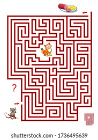 Logic puzzle game with labyrinth for children and adults. Help the mouse find the way in till the food without meeting cat. Printable worksheet for kids brain teaser book. IQ test. Online playing.