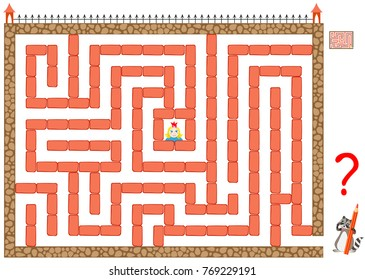 Logic puzzle game with labyrinth for children and adults. Help the princess get out of prison. Remove only two bricks and find the way to the exit. Vector image.
