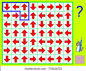 Logic puzzle game. Need to draw the lines so that every figure will have arrows in four different directions. Vector cartoon image.