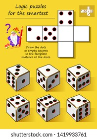 Logic puzzle game for smartest. Draw the dots in empty squares so the template matches all the dices. Printable page for brainteaser book. Developing spatial thinking. Vector cartoon image.