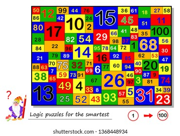 Logic puzzle game for smartest. Find and count all the numbers from 1 to 100. Task for attentiveness. Printable page for brain teaser book. Developing spatial thinking skills. Vector cartoon image.