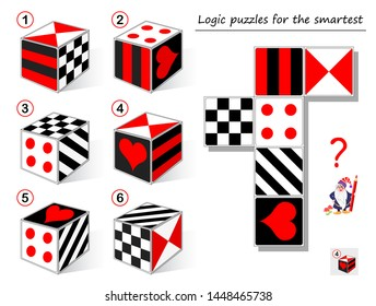 Logic puzzle game for smartest. Need to find the cube which matches to the template. Printable page for brainteaser book. Developing spatial thinking. Vector cartoon image.