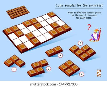 Logic puzzle game for smartest. Need to find the correct place at the bar of chocolate for each piece. Printable page for brainteaser book. Developing spatial thinking. Vector cartoon image.